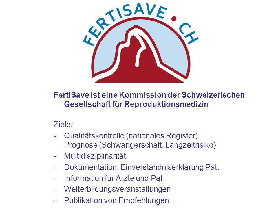 FertiSave ist eine Kommission der Schweizerischen Gesellschaft für Reproduktionsmedizin Ziele: -Qualitätskontrolle (nationales Register) Prognose (Sch