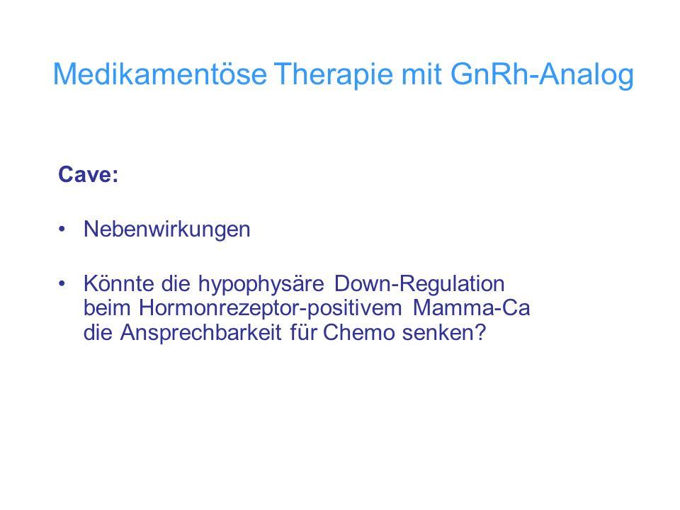 Medikamentöse Therapie mit GnRh-Analog Cave: Nebenwirkungen Könnte die hypophysäre Down-Regulation beim Hormonrezeptor-positivem Mamma-Ca die Ansprech