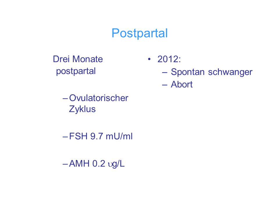 Postpartal Drei Monate postpartal –Ovulatorischer Zyklus –FSH 9.7 mU/ml –AMH 0.2 g/L 2012: –Spontan schwanger –Abort