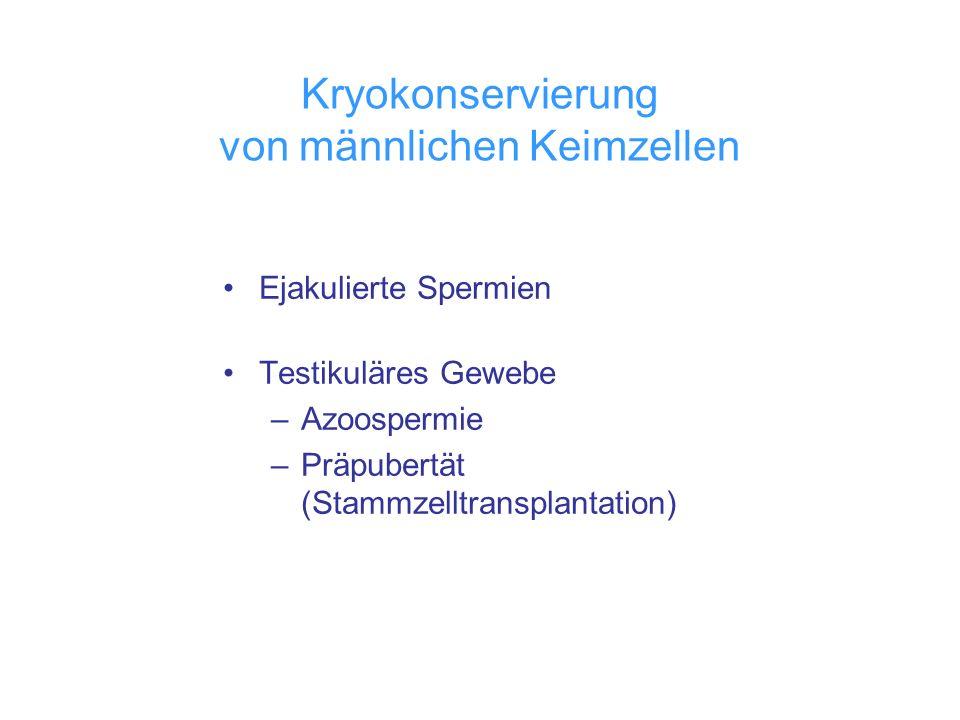 Kryokonservierung von männlichen Keimzellen Ejakulierte Spermien Testikuläres Gewebe –Azoospermie –Präpubertät (Stammzelltransplantation)