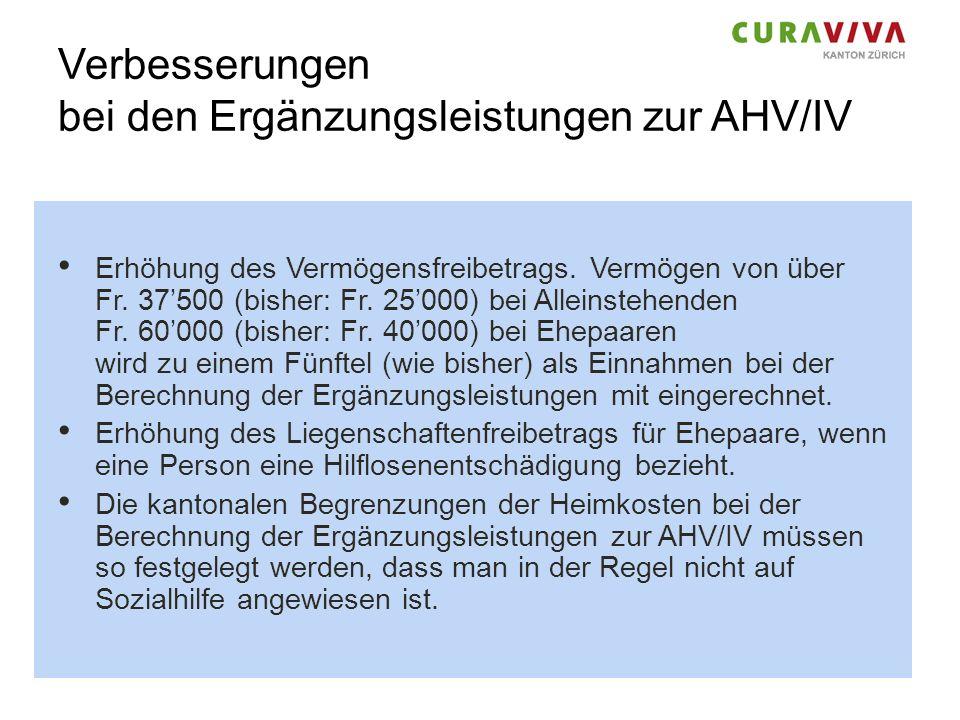 Verbesserungen bei den Ergänzungsleistungen zur AHV/IV Erhöhung des Vermögensfreibetrags. Vermögen von über Fr. 37500 (bisher: Fr. 25000) bei Alleinst