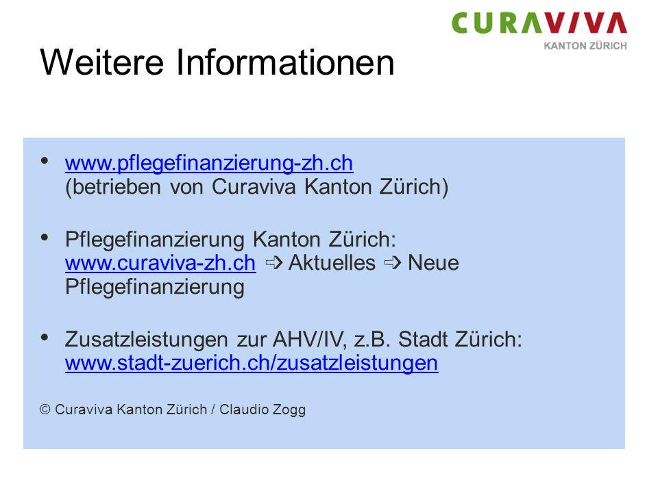 Weitere Informationen www.pflegefinanzierung-zh.ch (betrieben von Curaviva Kanton Zürich) www.pflegefinanzierung-zh.ch Pflegefinanzierung Kanton Züric