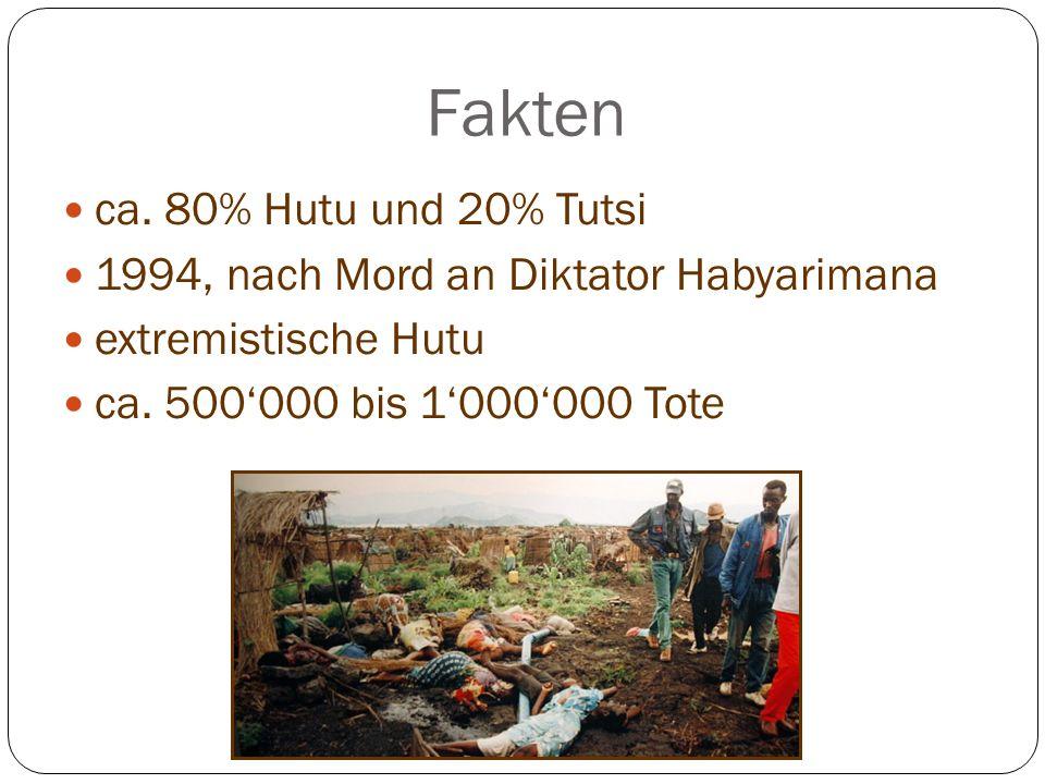Fakten ca. 80% Hutu und 20% Tutsi 1994, nach Mord an Diktator Habyarimana extremistische Hutu ca. 500000 bis 1000000 Tote