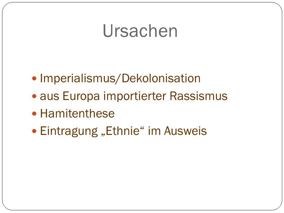Ursachen Imperialismus/Dekolonisation aus Europa importierter Rassismus Hamitenthese Eintragung Ethnie im Ausweis