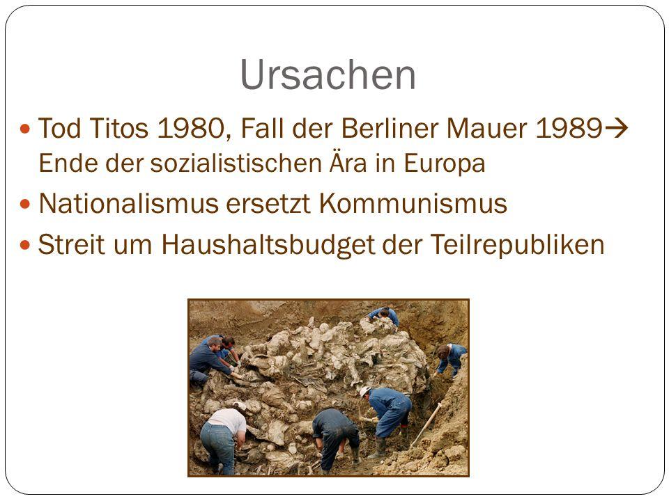 Ursachen Tod Titos 1980, Fall der Berliner Mauer 1989 Ende der sozialistischen Ära in Europa Nationalismus ersetzt Kommunismus Streit um Haushaltsbudget der Teilrepubliken