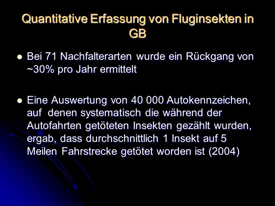 Quantitative Erfassung von Fluginsekten in GB Bei 71 Nachfalterarten wurde ein Rückgang von ~30% pro Jahr ermittelt Bei 71 Nachfalterarten wurde ein R