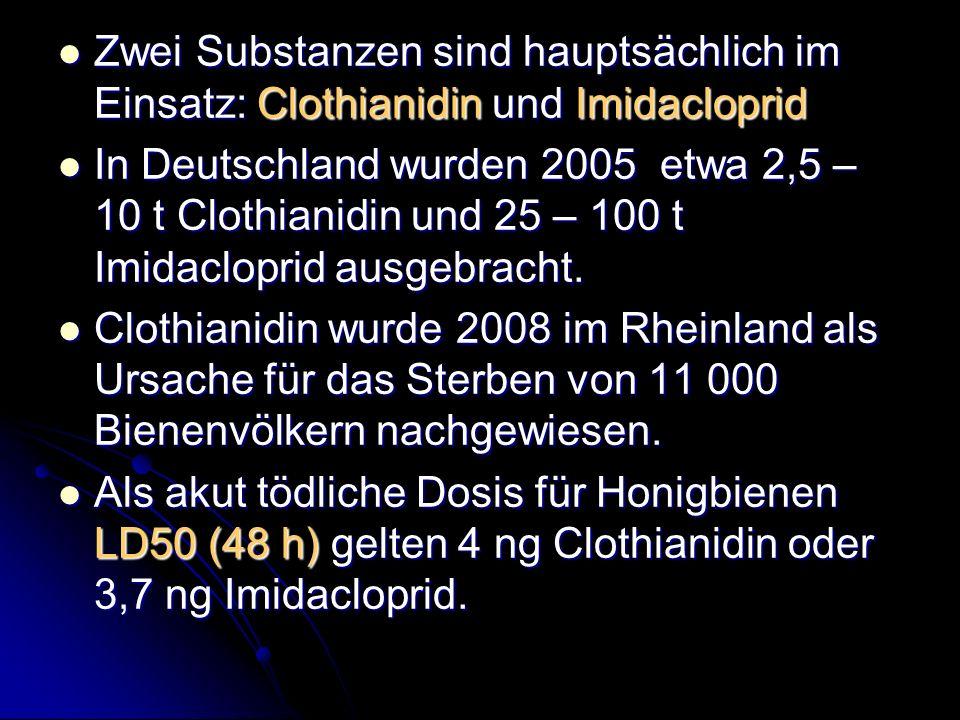 Zwei Substanzen sind hauptsächlich im Einsatz: Clothianidin und Imidacloprid Zwei Substanzen sind hauptsächlich im Einsatz: Clothianidin und Imidaclop