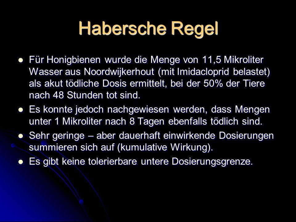 Habersche Regel Für Honigbienen wurde die Menge von 11,5 Mikroliter Wasser aus Noordwijkerhout (mit Imidacloprid belastet) als akut tödliche Dosis erm