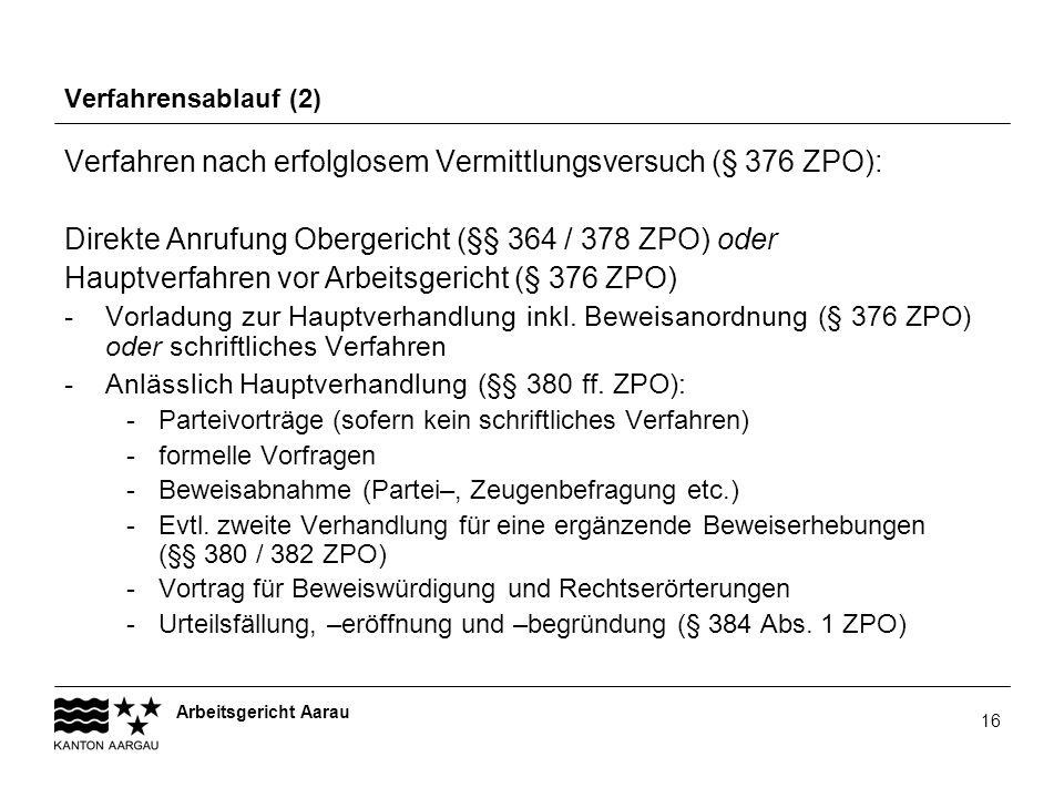 Arbeitsgericht Aarau 16 Verfahrensablauf (2) Verfahren nach erfolglosem Vermittlungsversuch (§ 376 ZPO): Direkte Anrufung Obergericht (§§ 364 / 378 ZP
