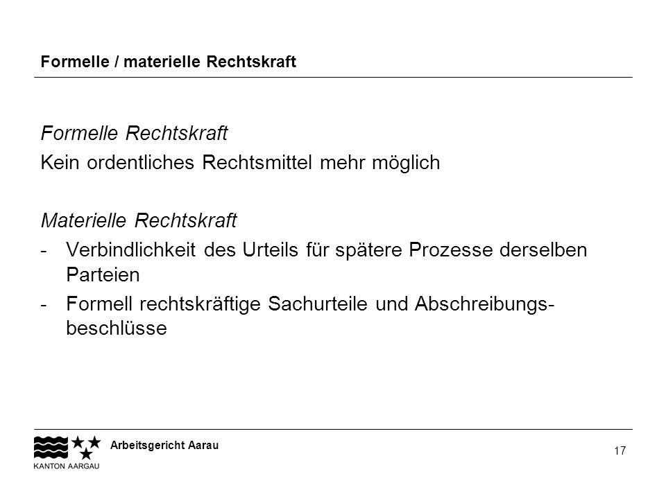 Arbeitsgericht Aarau 17 Formelle / materielle Rechtskraft Formelle Rechtskraft Kein ordentliches Rechtsmittel mehr möglich Materielle Rechtskraft -Ver