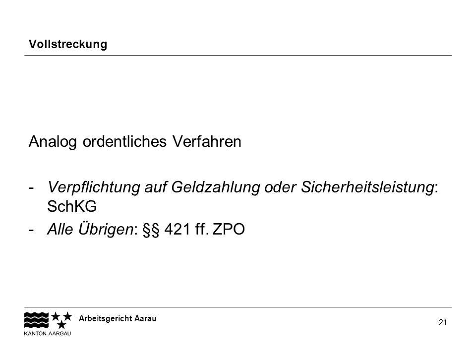 Arbeitsgericht Aarau 21 Vollstreckung Analog ordentliches Verfahren -Verpflichtung auf Geldzahlung oder Sicherheitsleistung: SchKG -Alle Übrigen: §§ 4