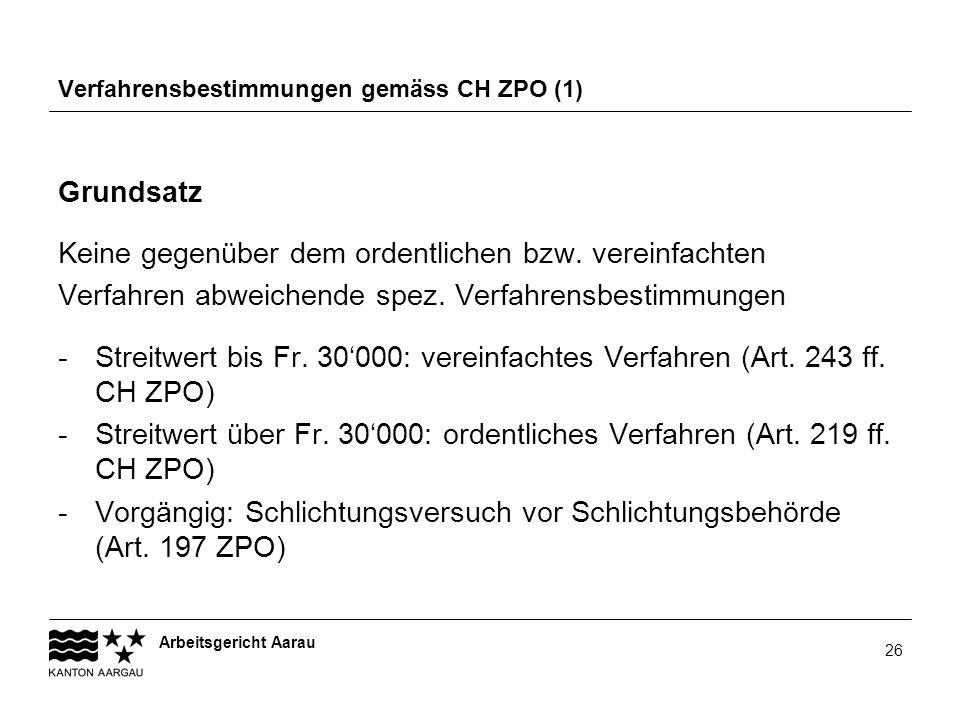 Arbeitsgericht Aarau 26 Verfahrensbestimmungen gemäss CH ZPO (1) Grundsatz Keine gegenüber dem ordentlichen bzw. vereinfachten Verfahren abweichende s