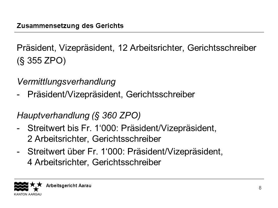 Arbeitsgericht Aarau 8 Zusammensetzung des Gerichts Präsident, Vizepräsident, 12 Arbeitsrichter, Gerichtsschreiber (§ 355 ZPO) Vermittlungsverhandlung