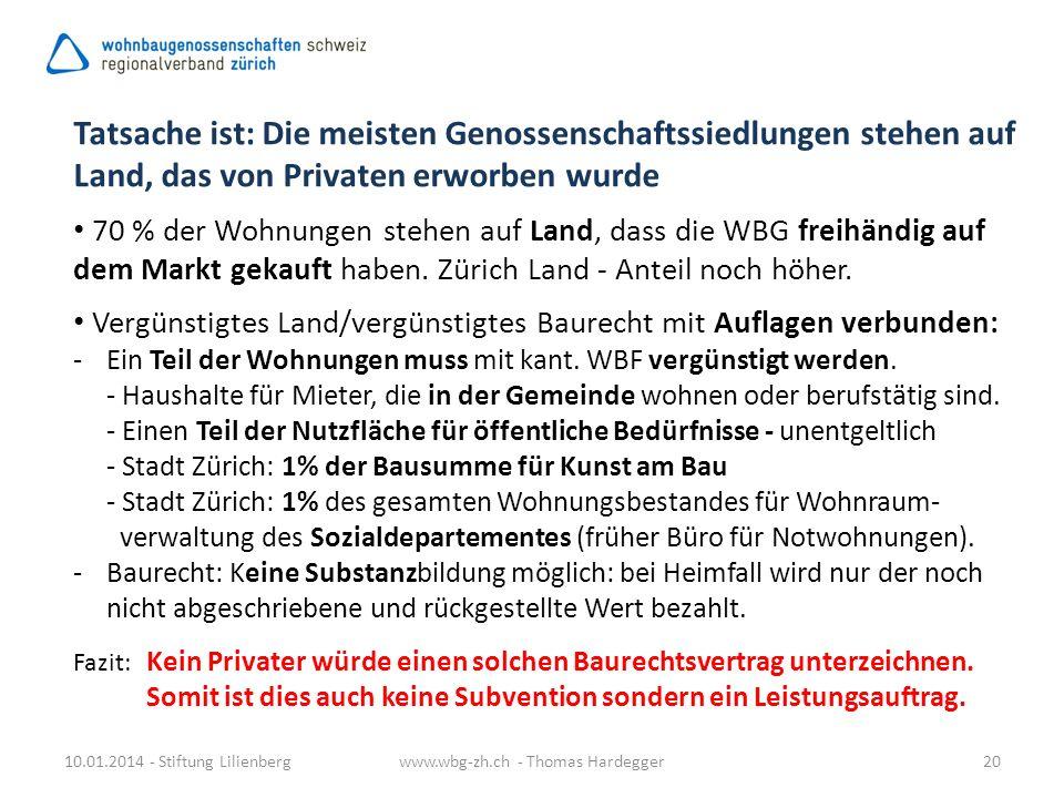 10.01.2014 - Stiftung Lilienbergwww.wbg-zh.ch - Thomas Hardegger20 Tatsache ist: Die meisten Genossenschaftssiedlungen stehen auf Land, das von Privat