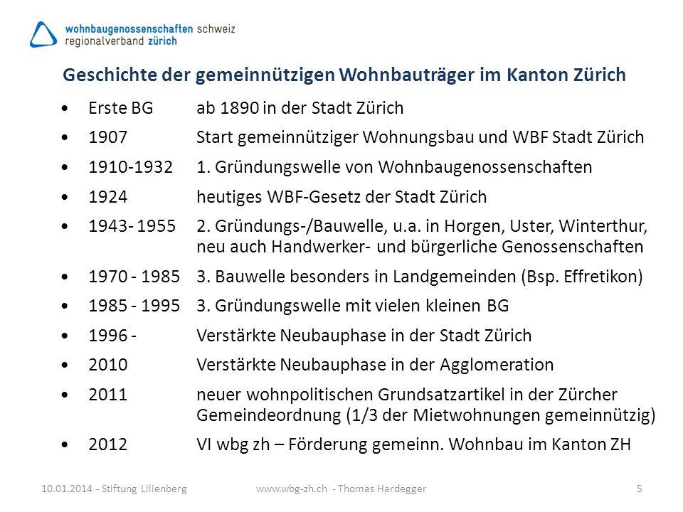 Geschichte der gemeinnützigen Wohnbauträger im Kanton Zürich Erste BG ab 1890 in der Stadt Zürich 1907Start gemeinnütziger Wohnungsbau und WBF Stadt Z