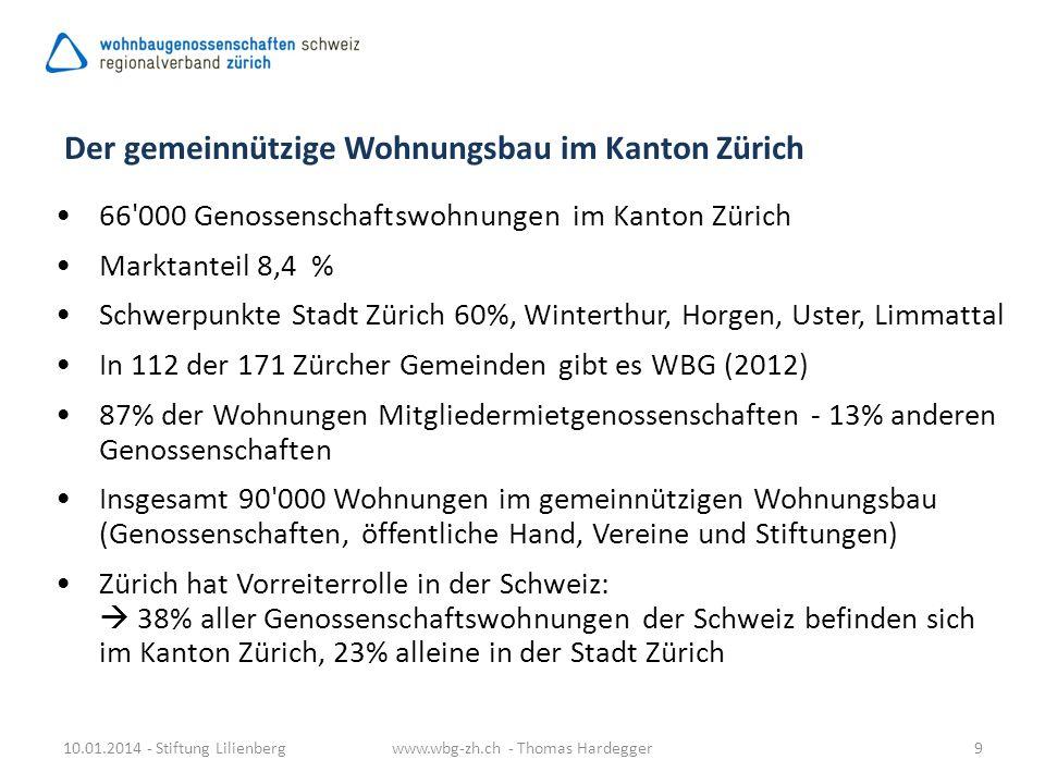 Der gemeinnützige Wohnungsbau im Kanton Zürich 66'000 Genossenschaftswohnungen im Kanton Zürich Marktanteil 8,4 % Schwerpunkte Stadt Zürich 60%, Winte
