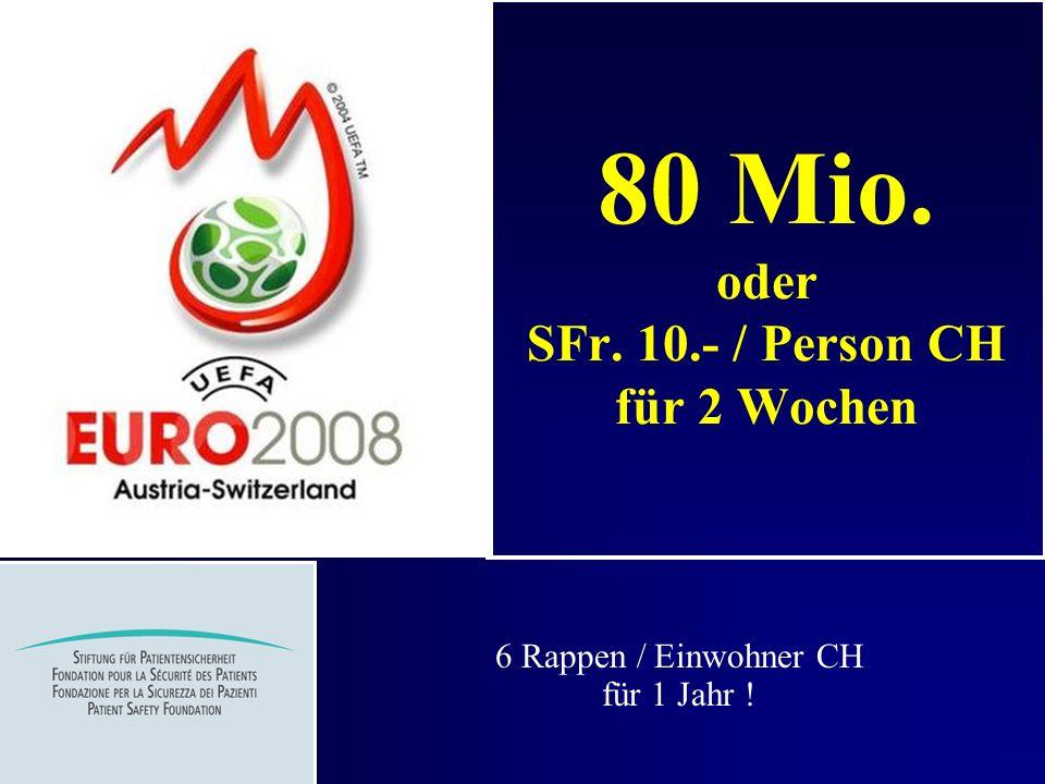 80 Mio. oder SFr. 10.- / Person CH für 2 Wochen 6 Rappen / Einwohner CH für 1 Jahr !