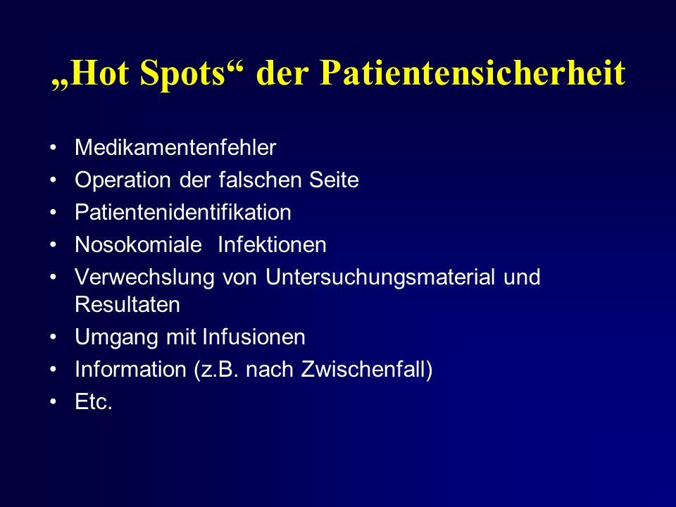 Hot Spots der Patientensicherheit Medikamentenfehler Operation der falschen Seite Patientenidentifikation Nosokomiale Infektionen Verwechslung von Untersuchungsmaterial und Resultaten Umgang mit Infusionen Information (z.B.