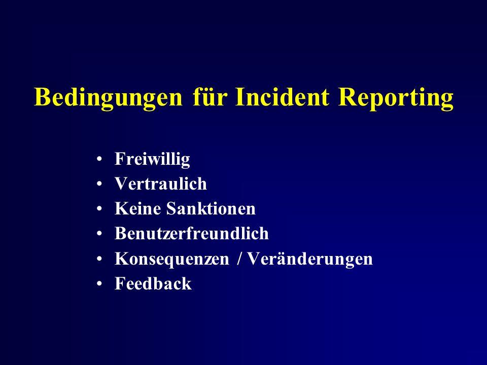 Bedingungen für Incident Reporting Freiwillig Vertraulich Keine Sanktionen Benutzerfreundlich Konsequenzen / Veränderungen Feedback
