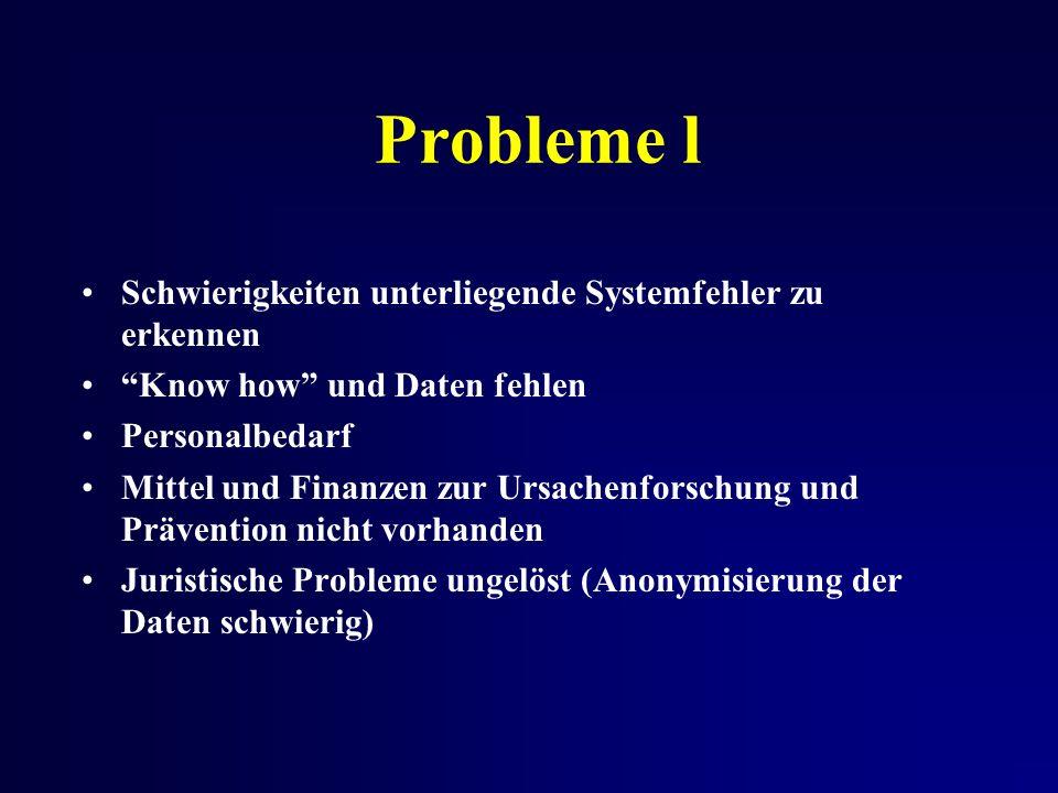 Probleme l Schwierigkeiten unterliegende Systemfehler zu erkennen Know how und Daten fehlen Personalbedarf Mittel und Finanzen zur Ursachenforschung und Prävention nicht vorhanden Juristische Probleme ungelöst (Anonymisierung der Daten schwierig)