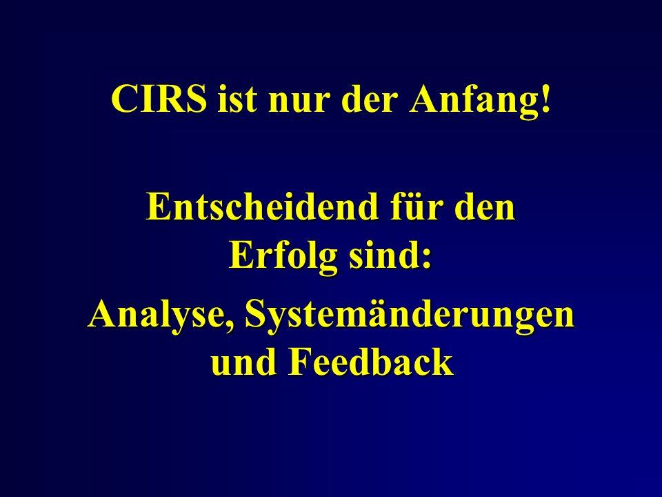 CIRS ist nur der Anfang! Entscheidend für den Erfolg sind: Analyse, Systemänderungen und Feedback