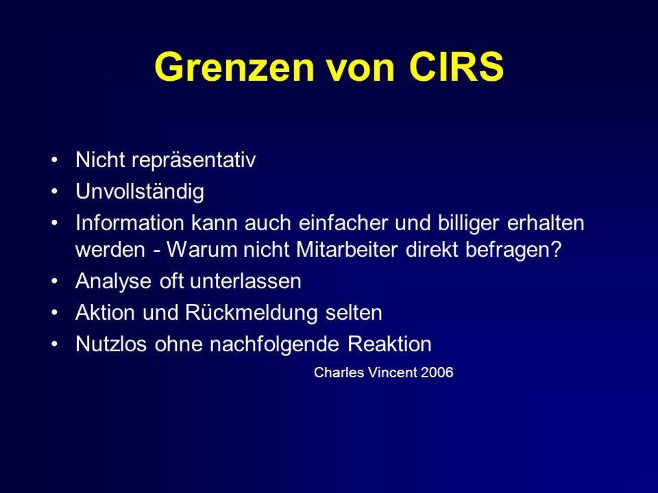 Grenzen von CIRS Nicht repräsentativ Unvollständig Information kann auch einfacher und billiger erhalten werden - Warum nicht Mitarbeiter direkt befragen.
