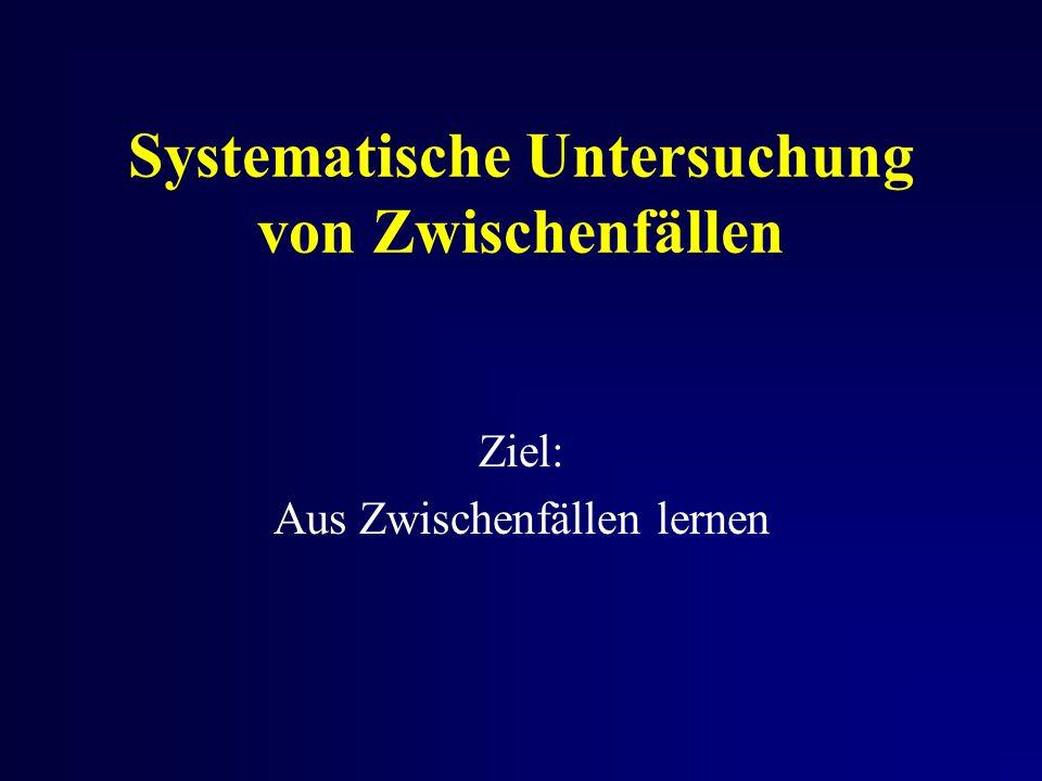 Systematische Untersuchung von Zwischenfällen Ziel: Aus Zwischenfällen lernen
