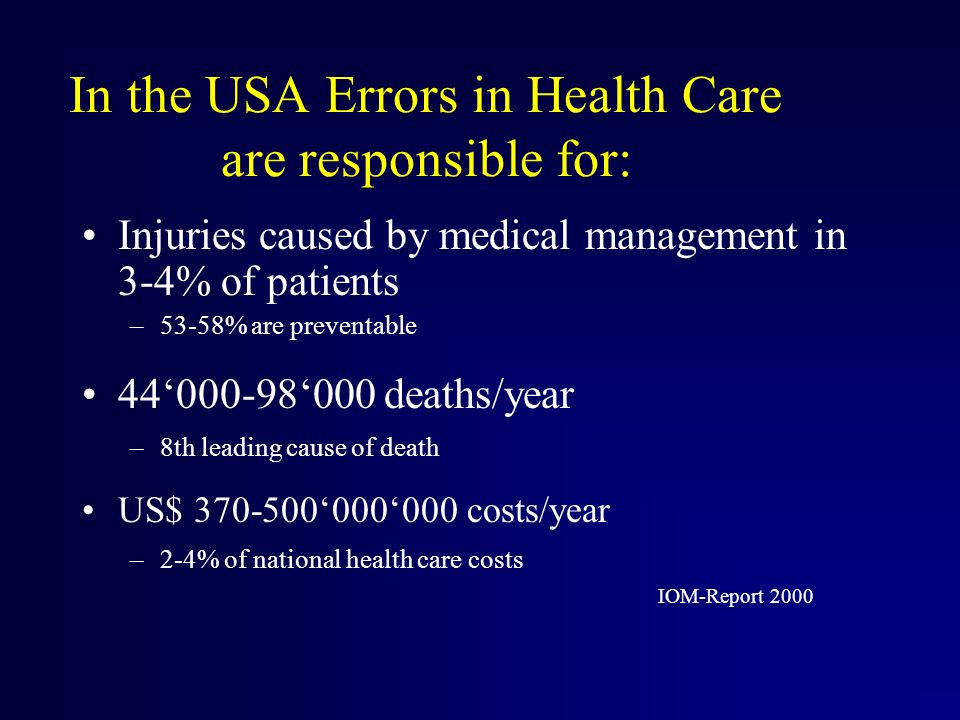 In the USA Errors in Health Care are responsible for: Injuries caused by medical management in 3-4% of patients –53-58% are preventable deaths/year –8th leading cause of death US$ costs/year –2-4% of national health care costs IOM-Report 2000