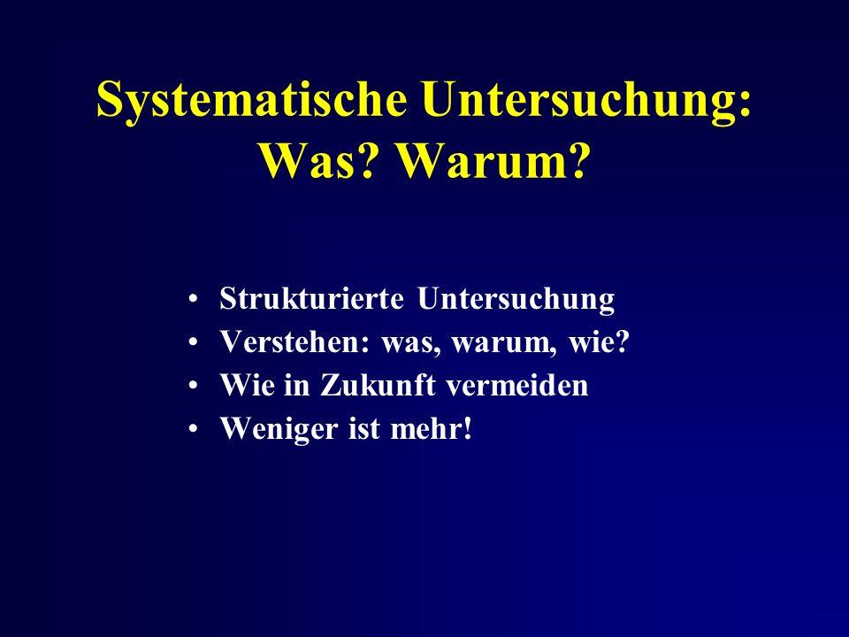 Systematische Untersuchung: Was. Warum. Strukturierte Untersuchung Verstehen: was, warum, wie.