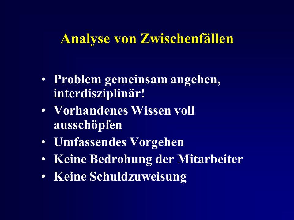 Analyse von Zwischenfällen Problem gemeinsam angehen, interdisziplinär.