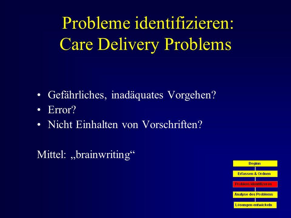Probleme identifizieren: Care Delivery Problems Gefährliches, inadäquates Vorgehen.