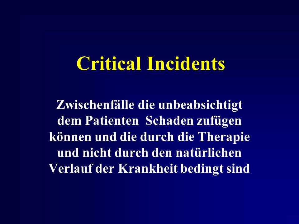 Critical Incidents Zwischenfälle die unbeabsichtigt dem Patienten Schaden zufügen können und die durch die Therapie und nicht durch den natürlichen Verlauf der Krankheit bedingt sind
