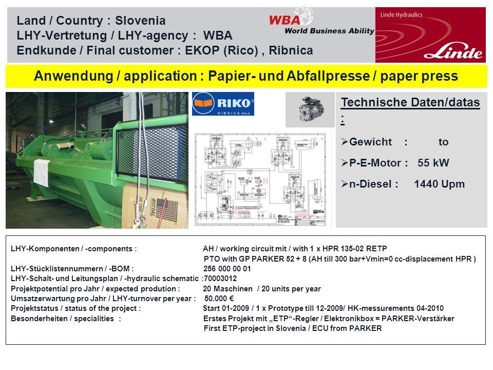 Linde Material Handling Land / Country :Croatia LHY-Vertretung / LHY-agency : WBA Endkunde / Final customer : HITTNER, Bjelovar Technische Daten/datas : Gewicht : to P-E-Motor : 80 kW n-Diesel : 2300 Upm Anwendung/Application: Winde Forstmaschine / Skidder whinch Ecotrac 120V LHY-Komponenten / -components : working circuit with 1 x HPV 75-02 LE1 24 P390 420 eB / 1 x HMF 105-02 C PTO with GP PARKER LHY-Stücklistennummern / -BOM : 263 000 00 00 and 294 000 26 00 LHY-Schalt- und Leitungsplan / -hydraulic schematic :PR 9787 + 9788 Projektpotential pro Jahr / expected prodution : 20 Maschinen / 20 units per year Umsatzerwartung pro Jahr / LHY-turnover per year : 50.000 Projektstatus / status of the project : Start 01-07 / Prototype till 12-07/ HK-messurements 03-08 / Series 08 Besonderheiten / specialities : Former equipment SS / joystick CALDARO included BUCHER Hydraulics- ECU