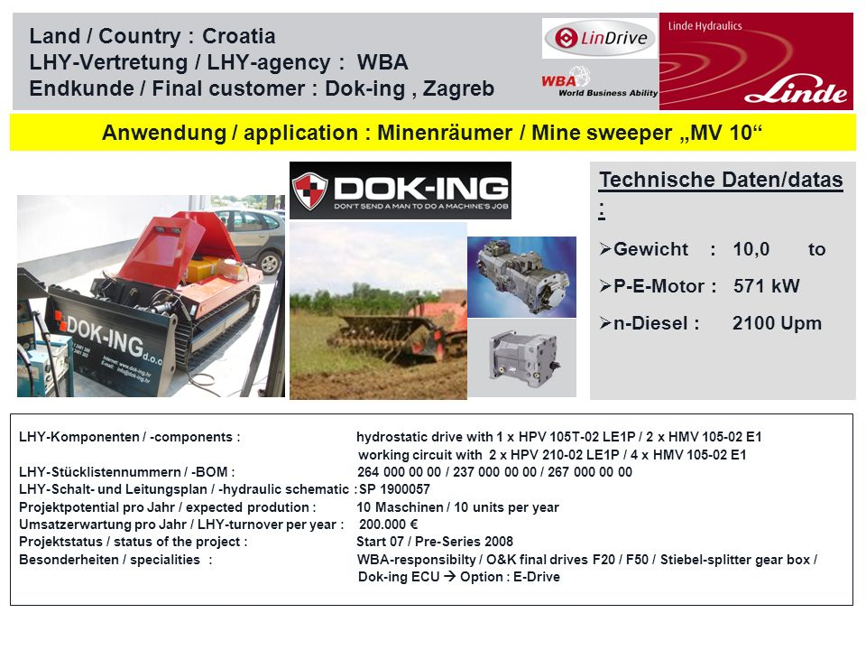 Linde Material Handling Land / Country :Serbia LHY-Vertretung / LHY-agency : WBA Endkunde / Final customer : GOSHA Technische Daten/datas Gewicht : to P-E-Motor : 55 / 110 kW n-Diesel : 1450 Upm Anwendung / application : Power Packs for industrial gates LHY-Komponenten / -components : working circuit with 1 x HPR 105/135/165/210(T)-02 RE1L/RLP/RETP+SPU LHY-Stücklistennummern / -BOM : 254 / 255 / 256 / 257 000 00 00 (01) LHY-Schalt- und Leitungsplan / -hydraulic schematic : Projektpotential pro Jahr / expected prodution : 25-50 Maschinen / 25-50 units per year Umsatzerwartung pro Jahr / LHY-turnover per year : 40.000-80.000 Projektstatus / status of the project : Start 07 / Series 08+09 Besonderheiten / specialities : WBA-responsibilty / PPT-Engineering Technical support / HYMA or MOTRAC Hydrauliek - production