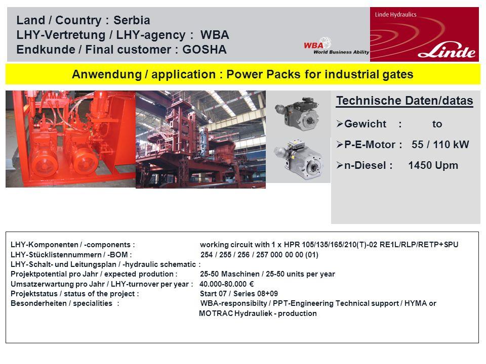 Linde Material Handling Land / Country :Serbia LHY-Vertretung / LHY-agency : WBA Endkunde / Final customer : PPT Eng., Belgrad Technische Daten/datas Gewicht : to P-E-Motor : 22 kW n-Diesel : 740 / 970 Upm Anwendung / application : Hydraulikaggregate / Power Packs for off shore LHY-Komponenten / -components : working circuit with 4 x HPR 55-02 RLPP LHY-Stücklistennummern / -BOM : 252 000 00 00 LHY-Schalt- und Leitungsplan / -hydraulic schematic : Projektpotential pro Jahr / expected prodution : 10 Maschinen / 10 units per year Umsatzerwartung pro Jahr / LHY-turnover per year : 60.000 Projektstatus / status of the project : Start 2008/09 Besonderheiten / specialities : PPT-Engineering – Know How
