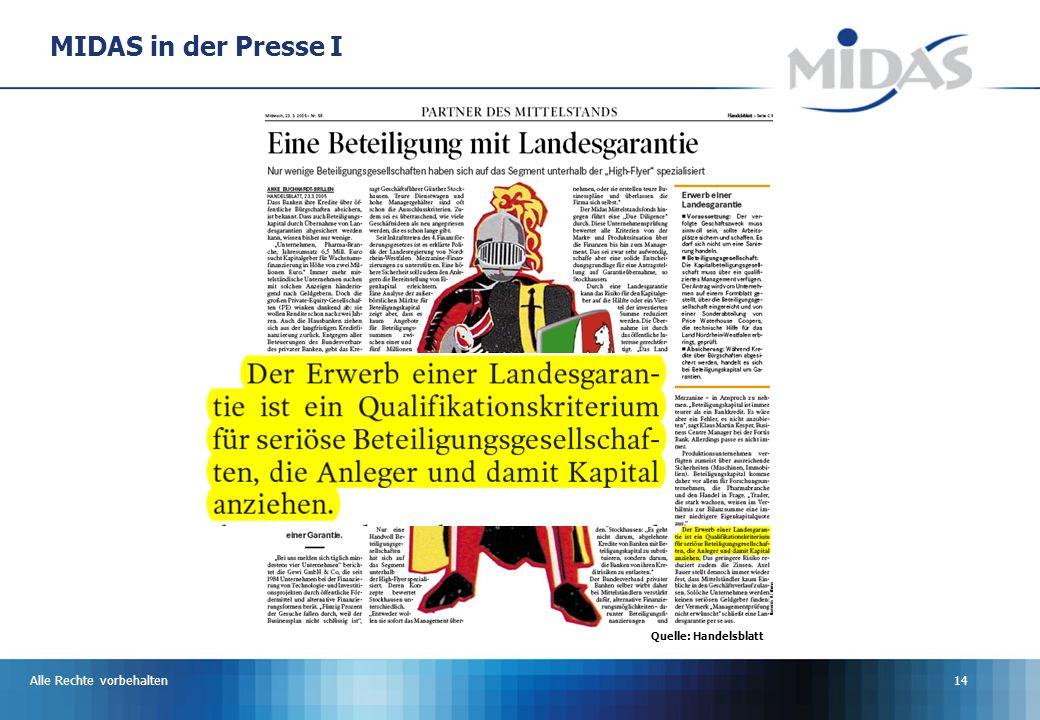 Alle Rechte vorbehalten14 MIDAS in der Presse I Quelle: Handelsblatt