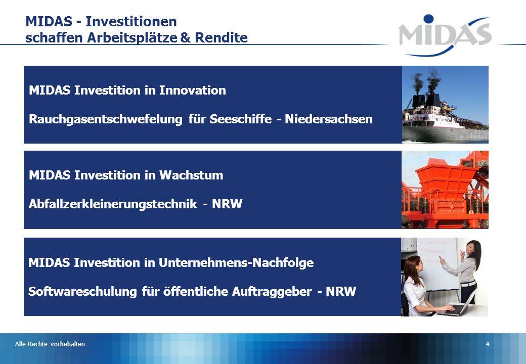Alle Rechte vorbehalten4 MIDAS Investition in Innovation Rauchgasentschwefelung für Seeschiffe - Niedersachsen MIDAS - Investitionen schaffen Arbeitsplätze & Rendite MIDAS Investition in Wachstum Abfallzerkleinerungstechnik - NRW MIDAS Investition in Unternehmens-Nachfolge Softwareschulung für öffentliche Auftraggeber - NRW