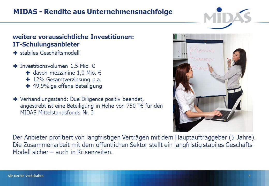 Alle Rechte vorbehalten8 MIDAS - Rendite aus Unternehmensnachfolge stabiles Geschäftsmodell Investitionsvolumen 1,5 Mio.