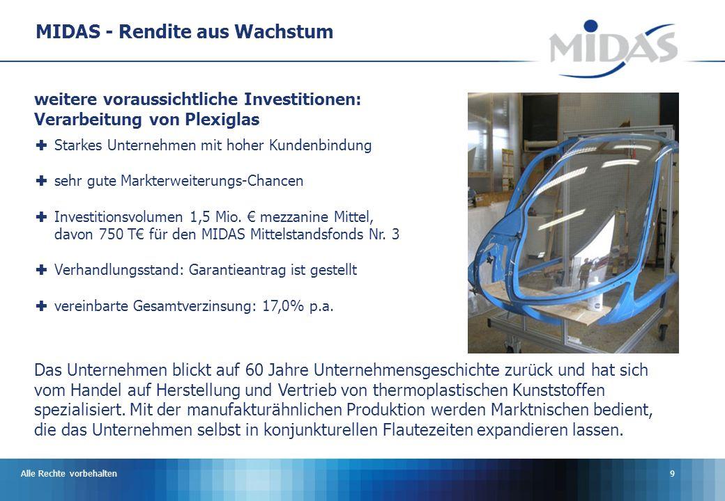 Alle Rechte vorbehalten9 MIDAS - Rendite aus Wachstum Starkes Unternehmen mit hoher Kundenbindung sehr gute Markterweiterungs-Chancen Investitionsvolumen 1,5 Mio.