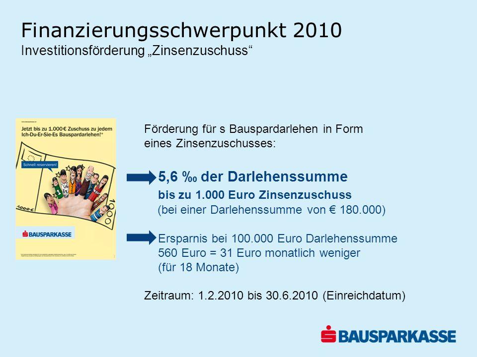 Finanzierungsschwerpunkt 2010 Förderung für s Bauspardarlehen in Form eines Zinsenzuschusses: 5,6 der Darlehenssumme bis zu 1.000 Euro Zinsenzuschuss