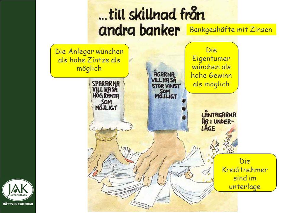 Bankgeshäfte mit Zinsen Die Anleger wünchen als hohe Zintze als möglich Die Eigentumer wünchen als hohe Gewinn als möglich Die Kreditnehmer sind im unterlage