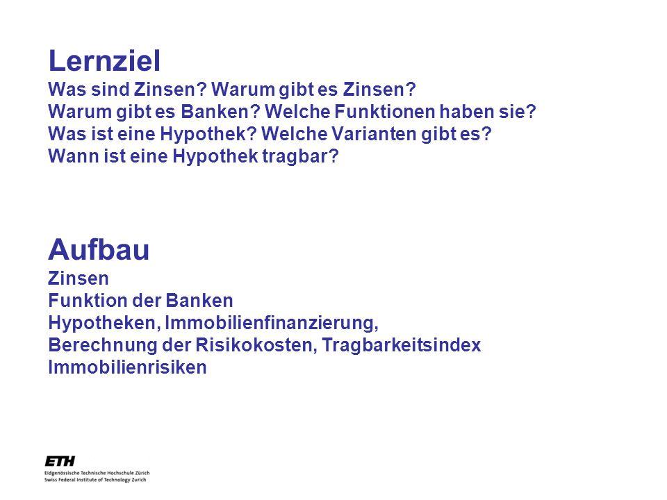 Lernziel Was sind Zinsen.Warum gibt es Zinsen. Warum gibt es Banken.