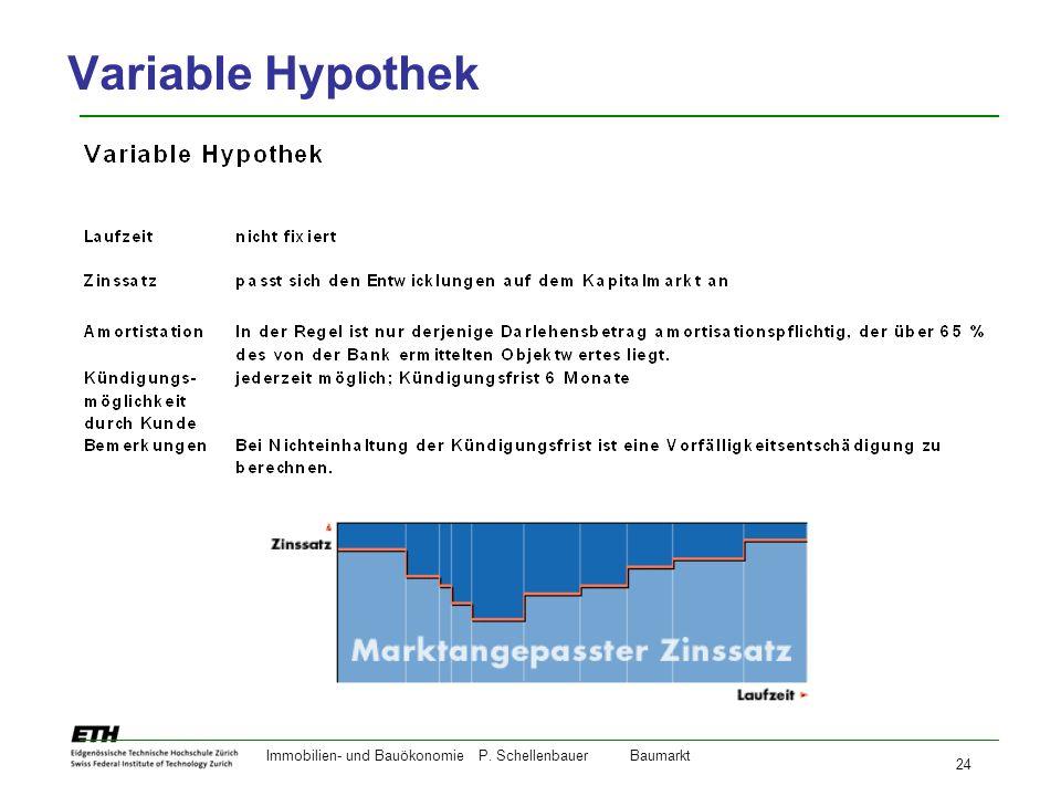 Immobilien- und BauökonomieP. Schellenbauer Baumarkt 24 Variable Hypothek