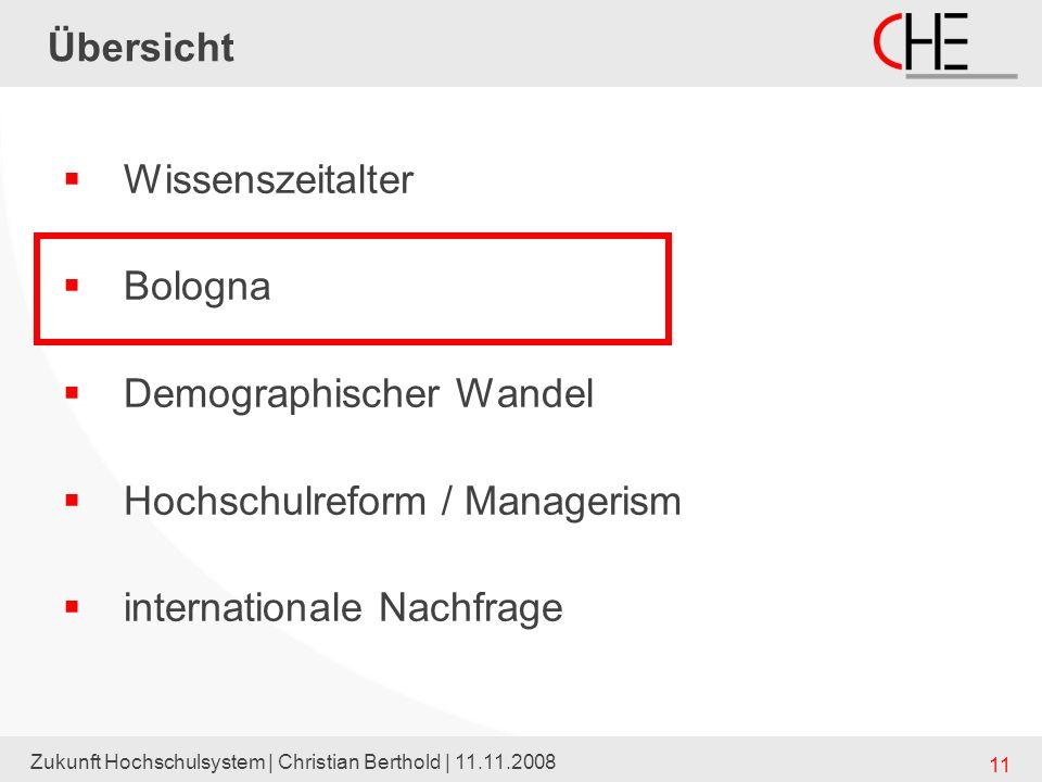 Zukunft Hochschulsystem | Christian Berthold | 11.11.2008 11 Übersicht Wissenszeitalter Bologna Demographischer Wandel Hochschulreform / Managerism in