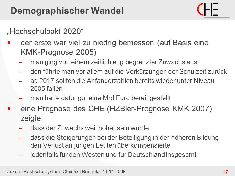 Zukunft Hochschulsystem | Christian Berthold | 11.11.2008 17 Demographischer Wandel Hochschulpakt 2020 der erste war viel zu niedrig bemessen (auf Bas