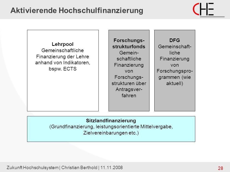 Zukunft Hochschulsystem | Christian Berthold | 11.11.2008 28 Aktivierende Hochschulfinanzierung Sitzlandfinanzierung (Grundfinanzierung, leistungsorie