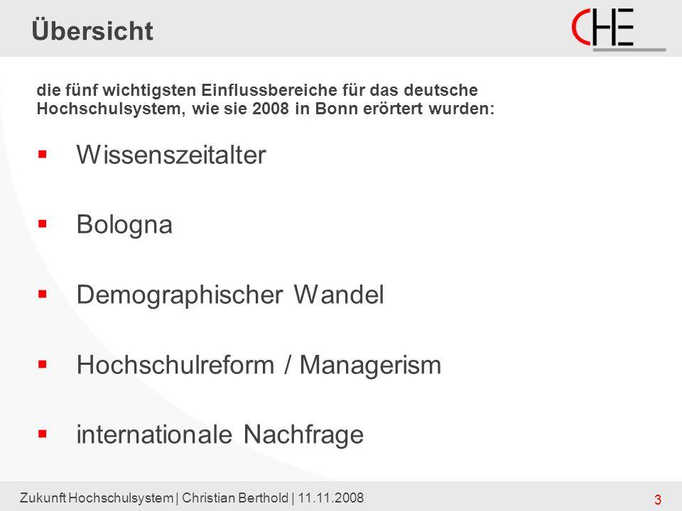 Zukunft Hochschulsystem | Christian Berthold | 11.11.2008 14 Übersicht Wissenszeitalter Bologna Demographischer Wandel Hochschulreform / Managerism internationale Nachfrage