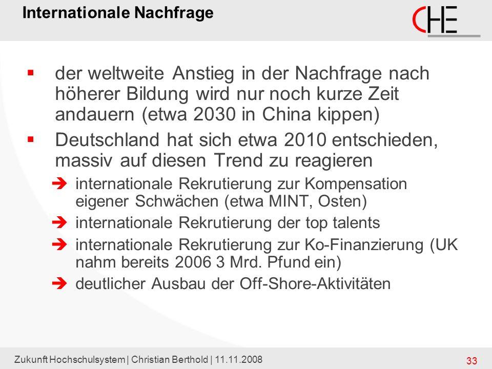 Zukunft Hochschulsystem | Christian Berthold | 11.11.2008 33 Internationale Nachfrage der weltweite Anstieg in der Nachfrage nach höherer Bildung wird