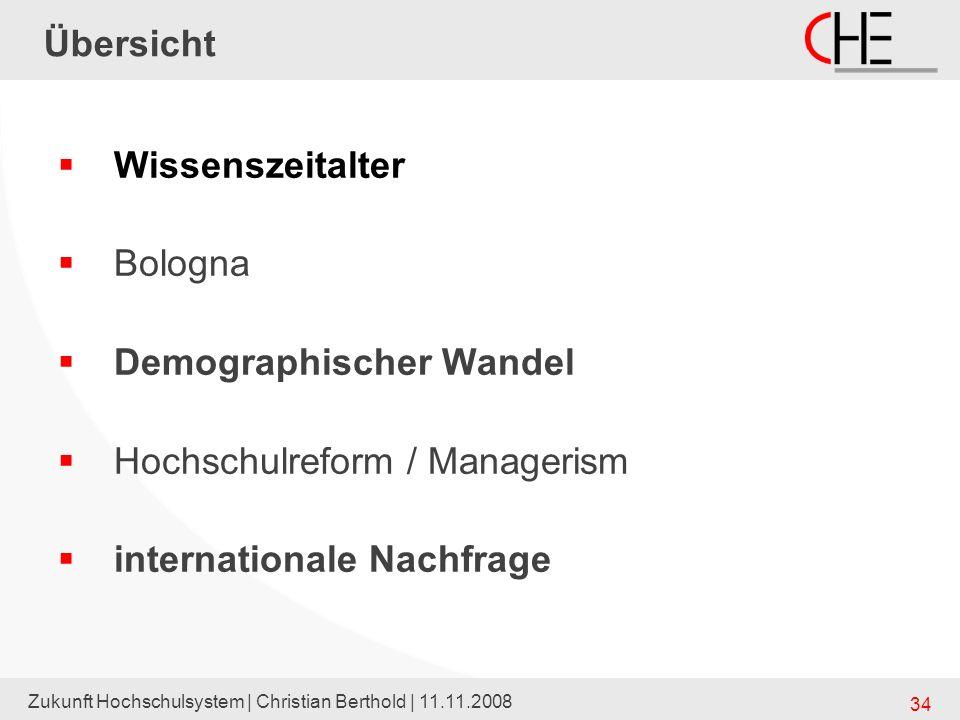 Zukunft Hochschulsystem | Christian Berthold | 11.11.2008 34 Übersicht Wissenszeitalter Bologna Demographischer Wandel Hochschulreform / Managerism in