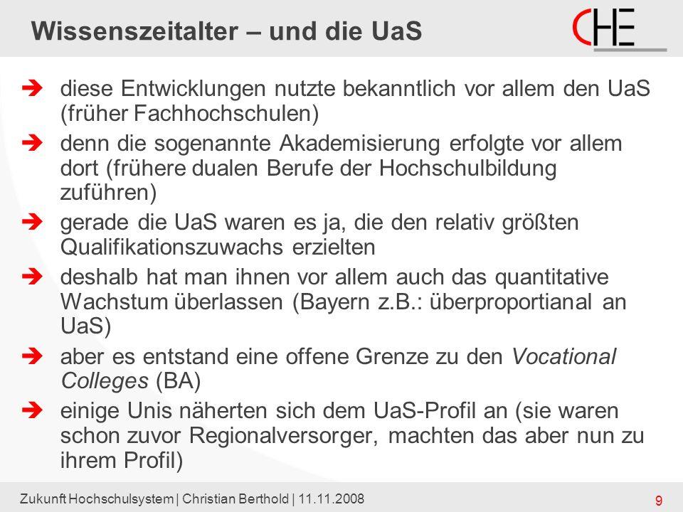 Zukunft Hochschulsystem | Christian Berthold | 11.11.2008 9 Wissenszeitalter – und die UaS diese Entwicklungen nutzte bekanntlich vor allem den UaS (f